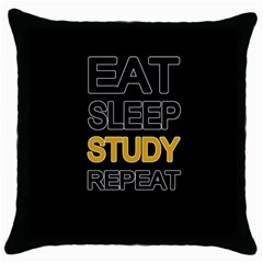 Eat Sleep Study Repeat Throw Pillow Case (black) by Valentinaart