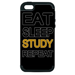 Eat Sleep Study Repeat Apple Iphone 5 Hardshell Case (pc+silicone) by Valentinaart
