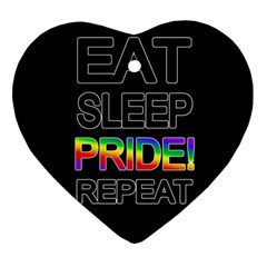 Eat Sleep Pride Repeat Heart Ornament (two Sides) by Valentinaart