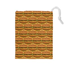 Delicious Burger Pattern Drawstring Pouches (large)  by berwies
