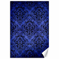 Damask1 Black Marble & Blue Brushed Metal (r) Canvas 12  X 18  by trendistuff