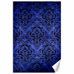 Damask1 Black Marble & Blue Brushed Metal (r) Canvas 24  X 36  by trendistuff