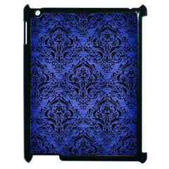 Damask1 Black Marble & Blue Brushed Metal (r) Apple Ipad 2 Case (black) by trendistuff
