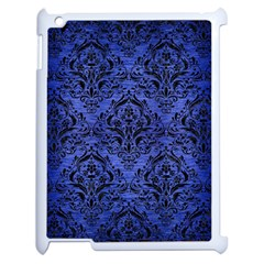 Damask1 Black Marble & Blue Brushed Metal (r) Apple Ipad 2 Case (white) by trendistuff