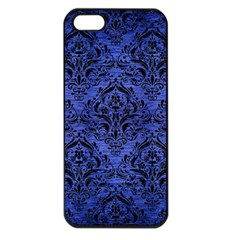 Damask1 Black Marble & Blue Brushed Metal (r) Apple Iphone 5 Seamless Case (black) by trendistuff