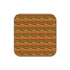 Delicious Burger Pattern Rubber Coaster (square)  by berwies