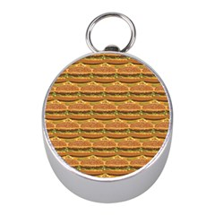 Delicious Burger Pattern Mini Silver Compasses by berwies