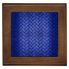 Brick2 Black Marble & Blue Brushed Metal (r) Framed Tile by trendistuff