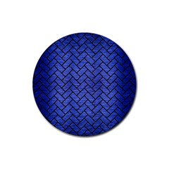 Brick2 Black Marble & Blue Brushed Metal (r) Rubber Coaster (round) by trendistuff