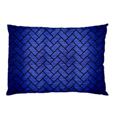 Brick2 Black Marble & Blue Brushed Metal (r) Pillow Case (two Sides) by trendistuff