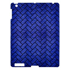 Brick2 Black Marble & Blue Brushed Metal (r) Apple Ipad 3/4 Hardshell Case by trendistuff