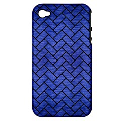 Brick2 Black Marble & Blue Brushed Metal (r) Apple Iphone 4/4s Hardshell Case (pc+silicone) by trendistuff