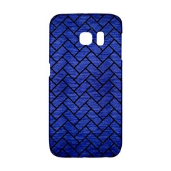 Brick2 Black Marble & Blue Brushed Metal (r) Samsung Galaxy S6 Edge Hardshell Case by trendistuff