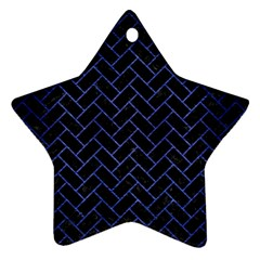 Brick2 Black Marble & Blue Brushed Metal Ornament (star) by trendistuff