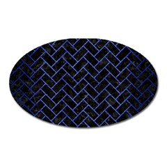 Brick2 Black Marble & Blue Brushed Metal Magnet (oval) by trendistuff