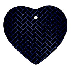 Brick2 Black Marble & Blue Brushed Metal Heart Ornament (two Sides) by trendistuff
