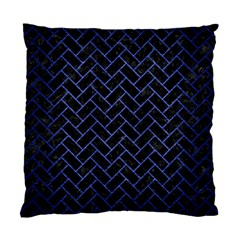 Brick2 Black Marble & Blue Brushed Metal Standard Cushion Case (two Sides) by trendistuff