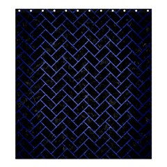 Brick2 Black Marble & Blue Brushed Metal Shower Curtain 66  X 72  (large) by trendistuff