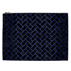 Brick2 Black Marble & Blue Brushed Metal Cosmetic Bag (xxl) by trendistuff