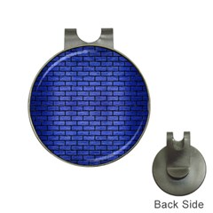 Brick1 Black Marble & Blue Brushed Metal (r) Golf Ball Marker Hat Clip by trendistuff