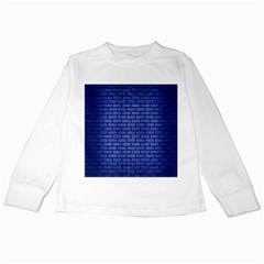 Brick1 Black Marble & Blue Brushed Metal (r) Kids Long Sleeve T Shirt