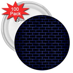 Brick1 Black Marble & Blue Brushed Metal 3  Button (100 Pack) by trendistuff