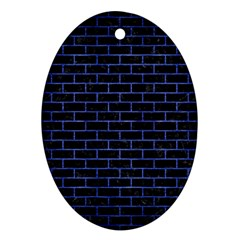 Brick1 Black Marble & Blue Brushed Metal Oval Ornament (two Sides) by trendistuff