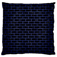Brick1 Black Marble & Blue Brushed Metal Large Cushion Case (two Sides) by trendistuff
