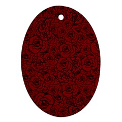 Red Roses Field Ornament (oval)