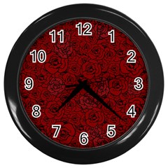 Red Roses Field Wall Clocks (black) by designworld65