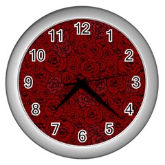 Red Roses Field Wall Clocks (silver)