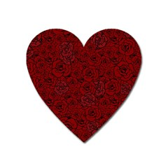 Red Roses Field Heart Magnet
