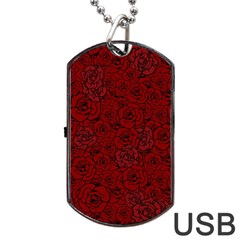 Red Roses Field Dog Tag Usb Flash (one Side)