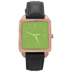 Trendy Basics   Trend Color Greenery Rose Gold Leather Watch  by tarastyle