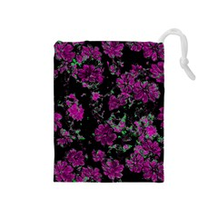 Floral Dreams 12 A Drawstring Pouches (medium)  by MoreColorsinLife