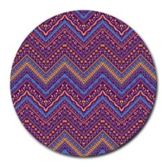 Colorful Ethnic Background With Zig Zag Pattern Design Round Mousepads by TastefulDesigns