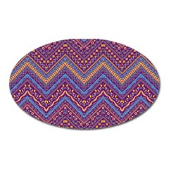 Colorful Ethnic Background With Zig Zag Pattern Design Oval Magnet by TastefulDesigns
