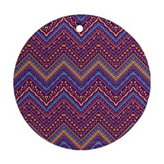 Colorful Ethnic Background With Zig Zag Pattern Design Round Ornament (two Sides) by TastefulDesigns