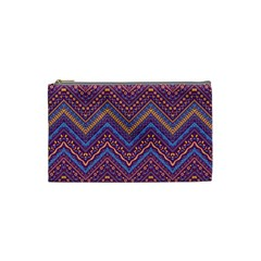 Colorful Ethnic Background With Zig Zag Pattern Design Cosmetic Bag (small)  by TastefulDesigns