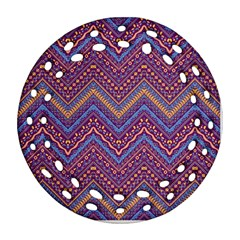 Colorful Ethnic Background With Zig Zag Pattern Design Round Filigree Ornament (two Sides) by TastefulDesigns
