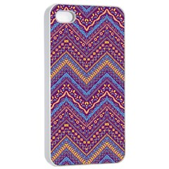 Colorful Ethnic Background With Zig Zag Pattern Design Apple Iphone 4/4s Seamless Case (white) by TastefulDesigns