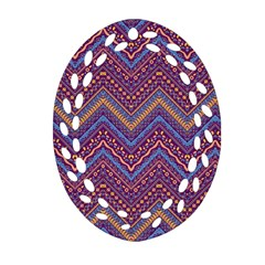 Colorful Ethnic Background With Zig Zag Pattern Design Ornament (oval Filigree) by TastefulDesigns