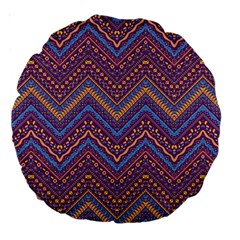 Colorful Ethnic Background With Zig Zag Pattern Design Large 18  Premium Round Cushions by TastefulDesigns