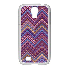 Colorful Ethnic Background With Zig Zag Pattern Design Samsung Galaxy S4 I9500/ I9505 Case (white) by TastefulDesigns