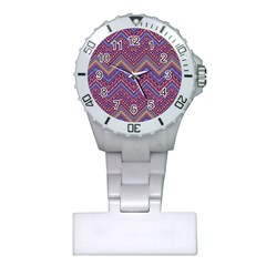 Colorful Ethnic Background With Zig Zag Pattern Design Plastic Nurses Watch