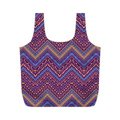 Colorful Ethnic Background With Zig Zag Pattern Design Full Print Recycle Bags (m)  by TastefulDesigns