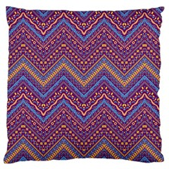 Colorful Ethnic Background With Zig Zag Pattern Design Large Flano Cushion Case (two Sides) by TastefulDesigns