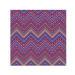 Colorful Ethnic Background With Zig Zag Pattern Design Small Satin Scarf (square) by TastefulDesigns