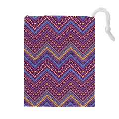 Colorful Ethnic Background With Zig Zag Pattern Design Drawstring Pouches (extra Large) by TastefulDesigns