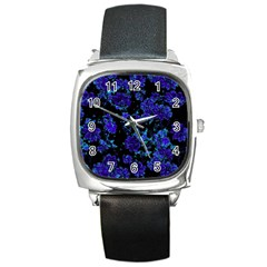 Floral Dreams 12 B Square Metal Watch by MoreColorsinLife